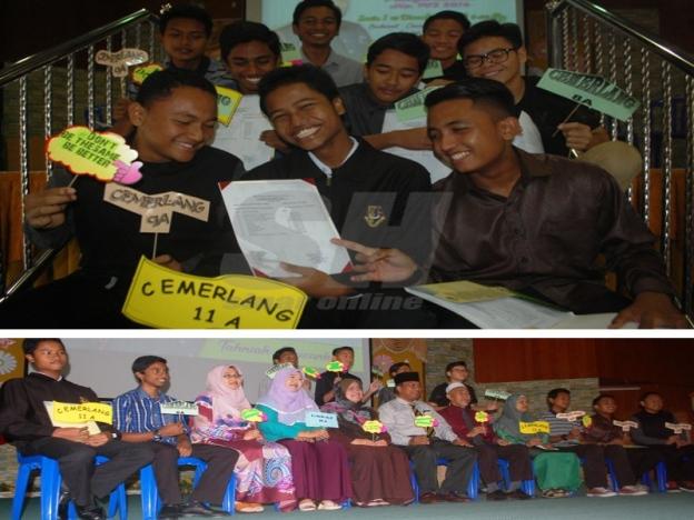 Omar (duduk, tengah) merakamkan kenangan bersama sebahagian pelajar yang berjaya memperoleh kejayaan cemerlang dalam PT3. Gambar bawah: Sebahagian pelajar cemerlang memperoleh 8A, 9A, 10A dan 11A gembira dengan keputusan masing-masing.